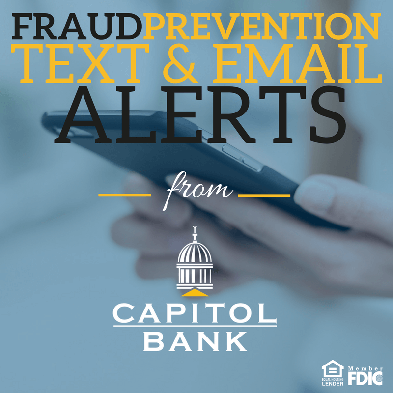 Fraud Prevention Text & Email Alerts from Capitol Bank - Cell Phone background