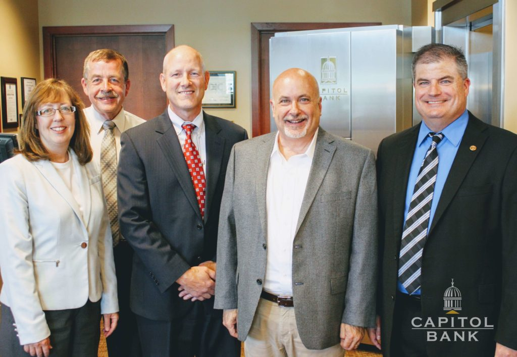 Mark Pocan with Rose Oswald, and Capitol Bank Employees