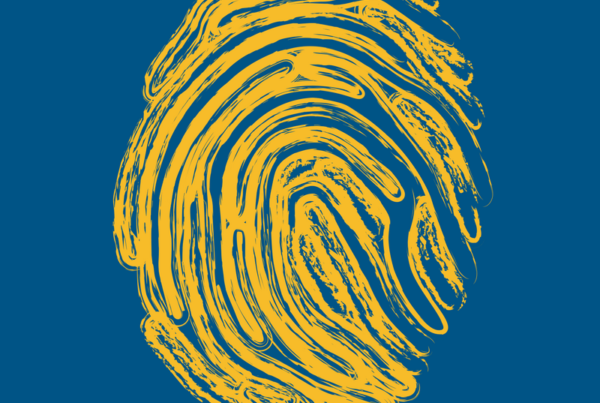 yellow fingerprint on blue background