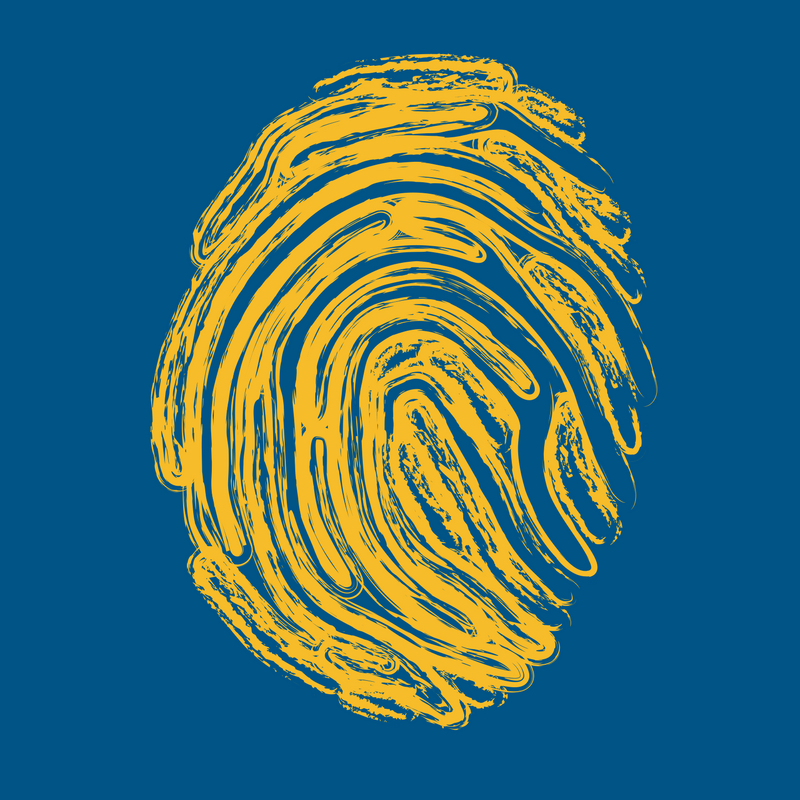 yellow fingerprint on blue background