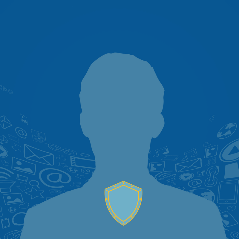 Blue Silhouette with a shield
