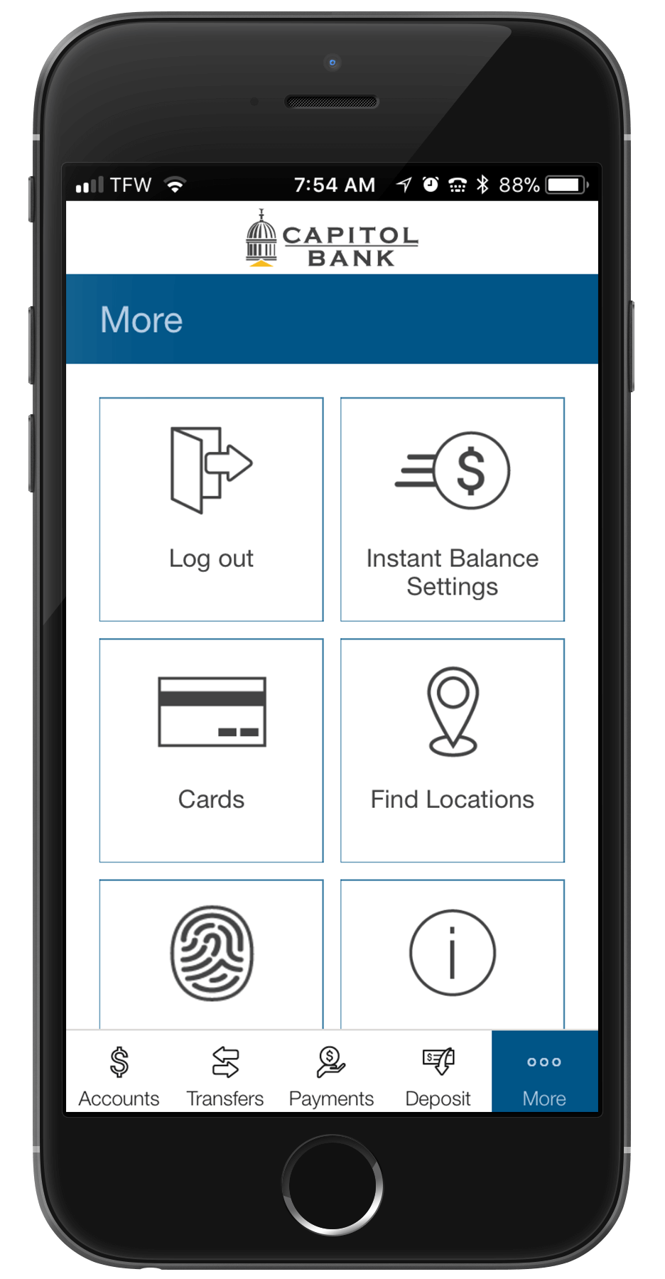 Access Card Manager from the More menu of mobile banking