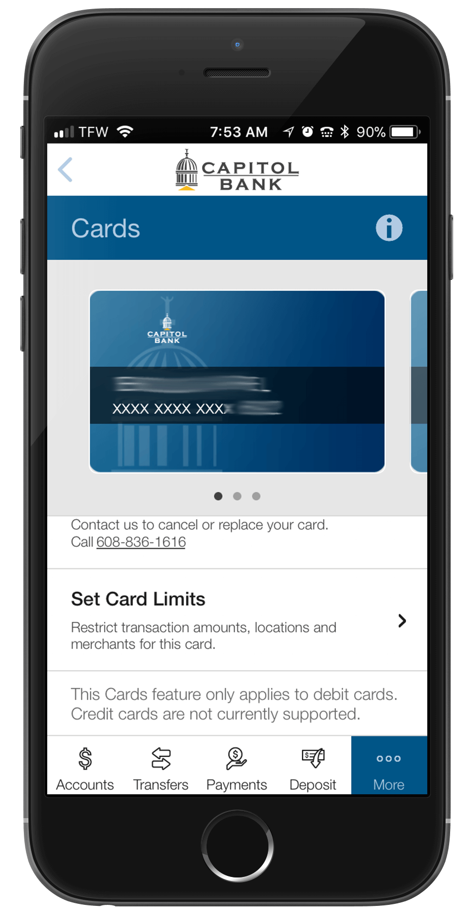 Set card limits with card manager.
