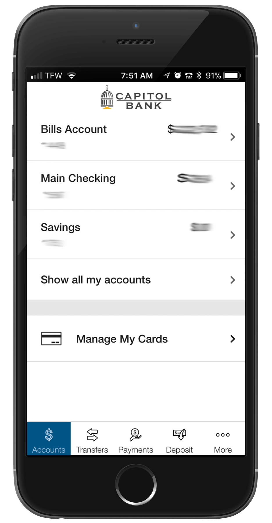 Access Card Manager from the main Account View Page