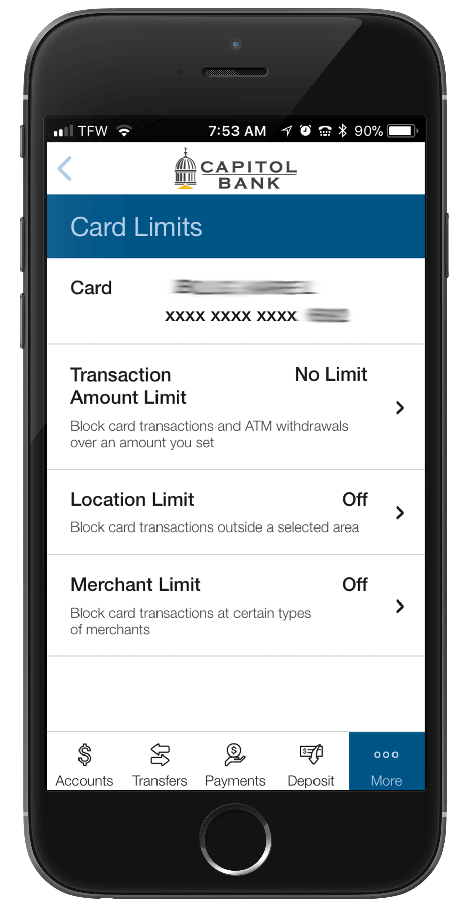 Manage Card Limits through Capitol Bank Mobile Banking